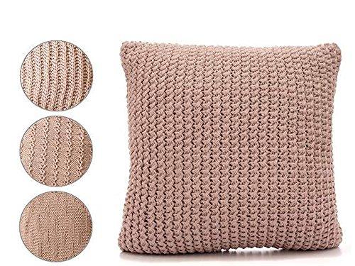 takestop® Kissen Punkt Stoff geflochtene Stricken Wolle pink quadratisch 60x 60x 20cm 4Wege Möbel Sofa Design Lounge Wohnzimmer Schlafzimmer (Stricken Kissen)