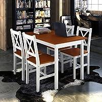 Alta calidad simple y impresionante madera de pino juego de mesa de comedor con 4sillas de madera