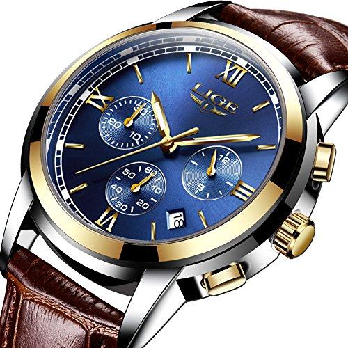 Relojes para Hombres,LIGE Correa de Cuero Marrón Deportivo Analógico de Cuarzo Relojes de Pulsera Impermeable Cronógrafo Negocios Casual Lujo Luminoso Reloj Oro Azu