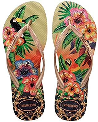 Havaianas Slim Tropical, Women's Flip Flop, Multicolor (Sand Grey/Rose/Rose 8625), 1.5 UK (35/36 EU)