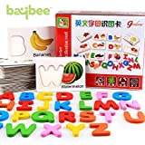 #7: Baybee Alphabet Premium Wooden Identification Card / Educational Toy with Knobs for Children B (Alphabet)
