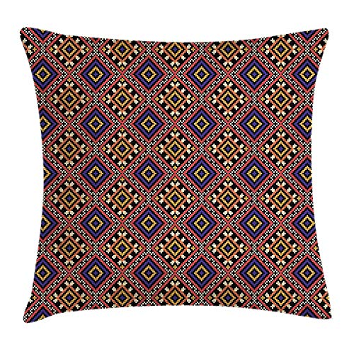 BUZRL Ukrainian Throw Pillow Cushion Cover, Traditional Ethnic Design Ancient Cultural Ornament Pattern Vintage Geometrical, Decorative Square Accent Pillow Case, 18 X 18 inches, Multicolor