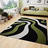 Wohnzimmer Teppich Modern Schwarz Grün Wellen Muster Friseé Flauschig Weich Konturenschnitt Geprüft von 160x230 cm
