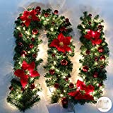 Queta Ghirlanda Natalizia, Ghirlanda di Abete Decorazione Natalizia con Fiori Bellissime lampade Decorazione Natalizia per Scale, pareti, Porte 2.7m (Rosso)