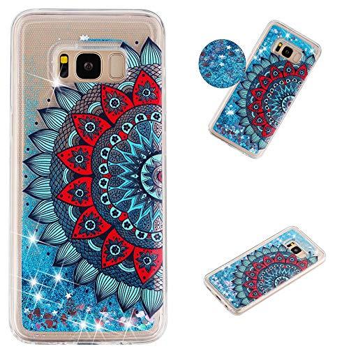 Miagon Flüssig Hülle für Samsung Galaxy S8 Plus,Glitzer Weich Treibsand Handyhülle Glitter Quicksand Silikon TPU Bumper Schutzhülle Case Cover-Blau Mandala Blume