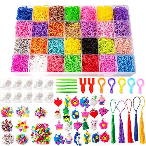 SAVITA Loom Bänder Set für Armband Herstellung, 11000 Loom Bands( 28 Farben) mit 5 Häkelnadeln, 5 Rucksackhaken, 500 S-Clips, 170 Bunten Perlen, 95 Buchstabenperlen, 24 Charme und Mehr