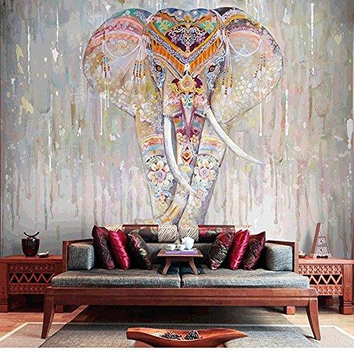 Wongxl Die Südostasiatische Handgemalte Indische Elefant Videos Wand Hotel Tapete Thai Yoga Center Wand 3D Tapete Hintergrundbild Fresko Wandmalerei Wallpaper Mural 200cmX150cm