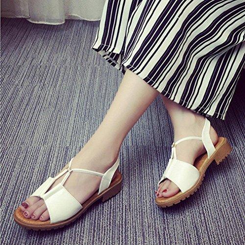 DM&Y 2017 sandali scarpe da donna Europa e diamanti perline sandali piani studenti White