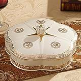 Piastra di frutta in ceramica, piastra di caramella di copertura multi-griglia, decorazione di tavolino da salotto creativo per la casa