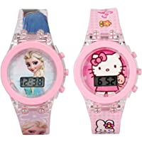 Driton Glowing Pink Princess Digital Watch for Girls/Glowing Pink Hello Kitty Digital Watch (Combo of 2) for Girls - for…