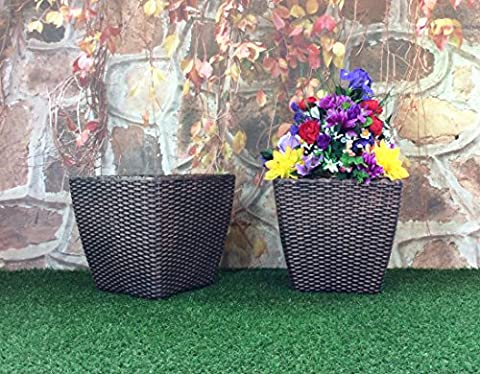 (PACK OF 2) 35cm Square Basket Weave Rattan Bronze