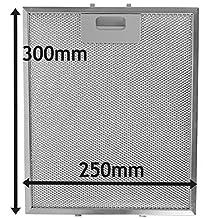 Spares2go Malla Metálica Filtro para Bosch Neff Siemens Campana extractora/extractor ventilación (plata, 300x 250mm)