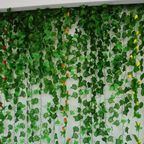 oopower 8.2ft/2,5m Dekoration Bezauberndes Fake Rattan Blatt Garland Plant Vine Fake Blattwerk Blumen Aufhängen Hochzeit Party Garten Wand Home Decor, Cirrus, Free Size (Fake-efeu-blätter)