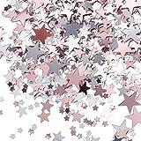 Tatuo 60 g Metallfolie Sterne Konfetti Pailletten für Hochzeit Bachelorette Bridal Dusche Party Dekoration (Rosa Gold und Silber)