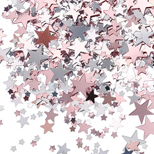 Tatuo 60 g Metallfolie Sterne Konfetti Pailletten für Hochzeit Bachelorette Bridal Dusche Party Dekoration (Rosa Gold und Silber) (Rose Confetti)