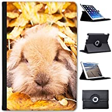 Conejo conejos (piel sintética, función atril), diseño con función atril para tablets negro Bunny Rabbit In Leaves Apple iPad Mini 1, 2 & 3