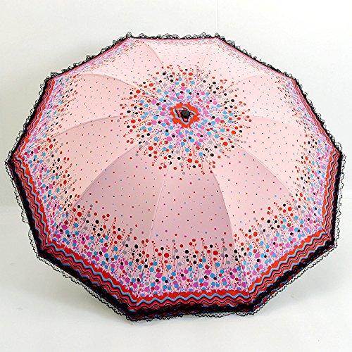 AMYMGLL Sonnenschirm Regenschirm Sonnenschirm und 2 zehn Knochen Spitzen Dach klappbar schwarz Kunststoff Anti-UV-Dach 2 Sonnenschirme , coral color