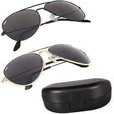 Elligator Combo Of 2 Aviator Unisex Sunglasses - (Avblk-Goldblk-Box-Sg Black)