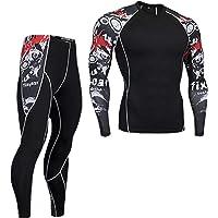 Homeilteds Uomo di Compressione Abbigliamento da Uomo T-Shirt Kit Leggings + Manica Lunga Superiore for l'Uomo Il…