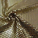 Kreativstoff Pailletten Lurex Stoff gold schwarz 6mmØ 1,1m Breite