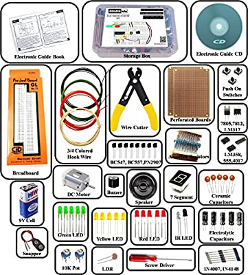 Insignia Labs Electronics Kit/Ultimate DIY Kit (300+ PARTS) (Includes Projects CD & Printed Guide Book)