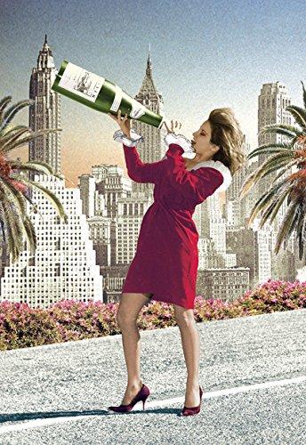 champagne-chica-tarjeta-postal-6x4-15cmx10cm-por-max-hernn