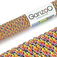 Ganzoo–Cuerda de supervivencia multifuncionales paracaídas Paracord 550(cuerda trenzada de nailon), soportan hasta 250kg, longitud total: 31metros (100FT) Color: Amarillo/Azul/Negro/Rosa/Rojo/Gris/Verde/Naranja–Marca Ganzoo