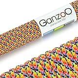 Paracord 550 Seil mehrfarbig | bunt | 31 Meter Nylon-Seil mit 7 Kern-Stränge | für Armband | Knüpfen von Hunde-Leine oder Hunde-Halsband zum selber machen | Seil mit 4mm Stärke | Mehrzweck-Seil | Survival-Seil | Parachute Cord belastbar bis 250kg (550lbs) Farbe: gelb, blau, schwarz, pink, rot, grau, grün, orange - Marke Ganzoo