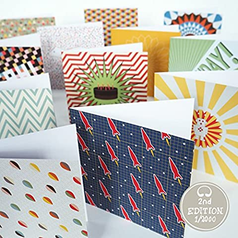 Bright Stem Greeting Cards and Envelopes Mixed Pack (12) Birthday, Celebration, Thank You