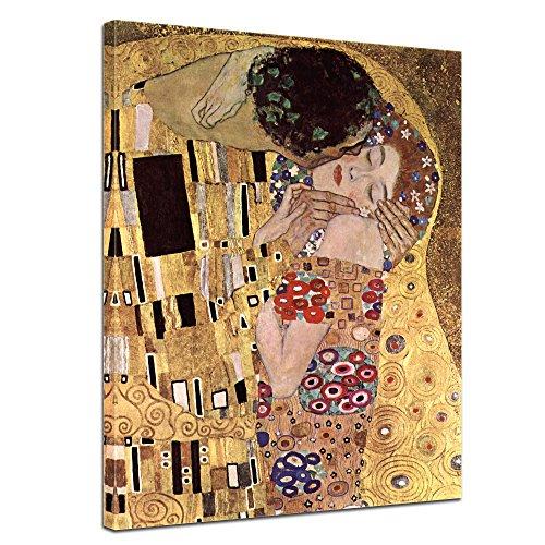 Bilderdepot24 Tela Immagine Gustav Klimt - Antichi Maestri Il Bacio 40x50cm - Completamente incorniciato, Direttamente dal Produttore