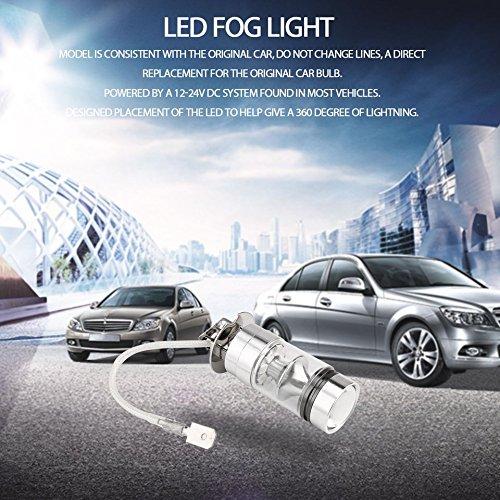 Swiftswan 1 Pair H3 100W 8000K LED Auto Fog Light Blue Light 12-LED Super Bright Silver(Color Ice Blue Light)(Size:12)