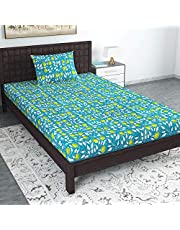 Divine Casa 104 TC 100% Cotton Abstract Single Bedsheet with 1 Pillow Cover, Green Color (Single Bed (57 W x 88 L Inch))