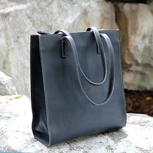 Sac à main épaule cuir simple sac à main sac à main de mode en cuir marron clair, Navy Blue