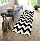 Läufer Teppich Brücke Teppichläufer - Modern Zic Zack - Dichter Und Dicker Flor Designer Muster - Ideal Für Ihre Wohnzimmer Schlafzimmer Esszimmer -