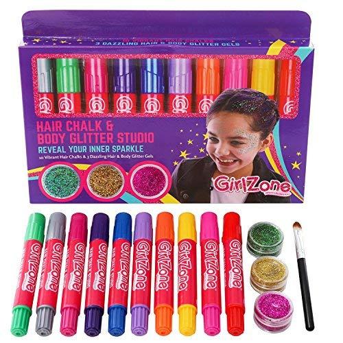 (GirlZone: 10 Haarkreide & 3 Glitzer Gel - Kinder Makeup Set - Temporäre Haarfarbe für Kinder Mädchen & Glitzergel für Haar Gesicht & Körper - Mädchen Geschenke Silvester Party Mädchen / Kinder)