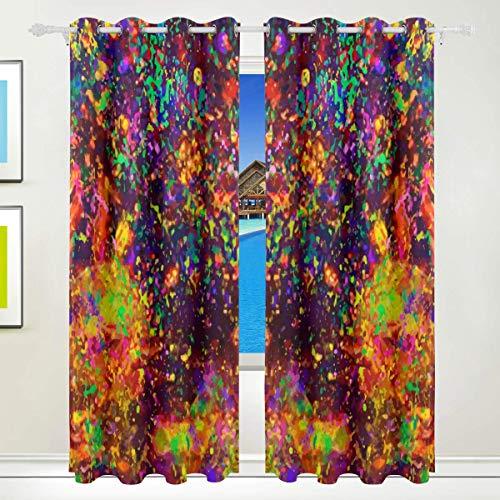 Jsmhh buntes Nebula Space Polyester Vorhang Verdunkelungsvorhang Home Decor für Terrassenfenster Schiebetür Glas Tür 213,3 x 139,7 cm 2 Panels Set,