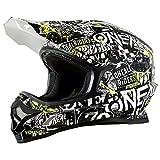 O'Neal 3Series Attack Motocross Helm Schwarz Gelb Neon MX Enduro Trail Quad Cross Offroad, 0623-11, Größe M