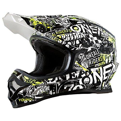 O'Neal 3Series Attack Motocross Helm Schwarz Gelb Neon MX Enduro Trail Quad Cross Offroad, 0623-11, Größe L