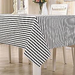 QiuQiu elegante lavable funda para mesa mantel de rayas negro patrones para vacaciones decoración del partido, 100x140cm, algodón mixto