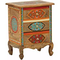 JAE Wooden Chest of Drawer for Home   Wooden Side Table with Drawers   Wooden Storage Furniture   Handpainted