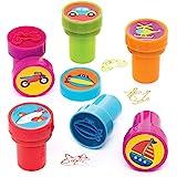 Baker Ross véhicules avec encre intégrée (lot de 10) -Ensemble de tampons que les enfants pourront utiliser lors de leurs loi