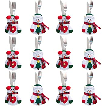 Gudotra 12pz Set Portaposate Natalizie da Babbo Natale Tasche Posate per  Forchetta Cucchiaio Decorazione della Tavolo 9c9702a26402
