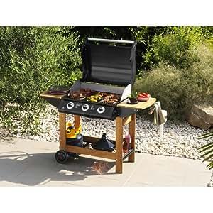 Barbecue à gaz Hosta - 3 brûleurs - Acier et bois - Noir