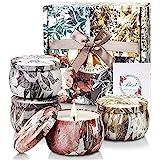 YMing Velas Perfumadas, Juego de 4 Piezas 4.4Oz Velas Aromática, Estaño de Viaje de Cera Natural de Soja Portátil, Regalos Or