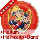 Folienballon Set * FEUERWEHRMANN SAM + HELIUM FÜLLUNG + HALTE CLIP + BAND * // Kindergeburtstag Deko Geburtstag Folien Ballon Luftballon Ballongas Feuerwehr Fireman Happy Birthday