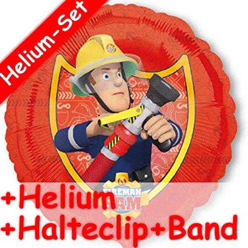 EUERWEHRMANN SAM + HELIUM FÜLLUNG + HALTE CLIP + BAND * // Kindergeburtstag Deko Geburtstag Folien Ballon Luftballon Ballongas Feuerwehr Fireman Happy Birthday ()