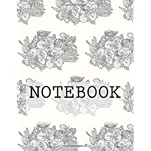 """Notebook: Beetle on Blossom Black, Rydal Water, Lake District. Plain (8.5""""x11""""): Plain Paper Notebook: Volume 1 (Augmented Reality Colouring Books of Great Britain)"""