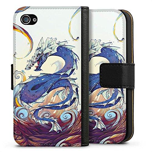 Apple iPhone X Silikon Hülle Case Schutzhülle Drache Wasser Fantasie Sideflip Tasche schwarz