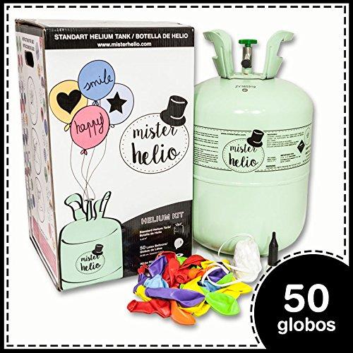 Botella helio desechablePLUS Botella de 0,42m3 (4,2 litros) de helio para inflar globos de látex y de foil. Con válvula flexible y llave de paso. Nuestro kit incluye: *Botella de helio desechable Grande con capacidad de 0,42m3. *50 globos de látex de...