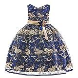 Kobay Floral Baby Girl Princess Brautjungfer Pageant Kleid Geburtstag Party Hochzeitskleid(2-3T,Marine)
